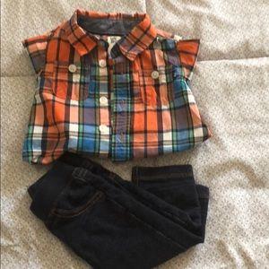 Baby b'gosh/Carter shirt/jeans (6months), preloved